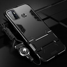 Coque Contour Silicone et Plastique Housse Etui Mat avec Support A01 pour Oppo A53 Noir