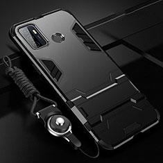 Coque Contour Silicone et Plastique Housse Etui Mat avec Support A01 pour Oppo A53s Noir