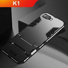 Coque Contour Silicone et Plastique Housse Etui Mat avec Support A01 pour Oppo K1 Noir