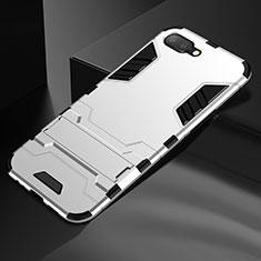 Coque Contour Silicone et Plastique Housse Etui Mat avec Support A01 pour Oppo R17 Neo Argent