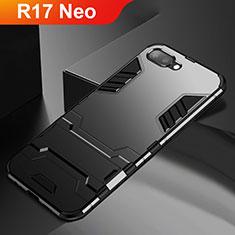 Coque Contour Silicone et Plastique Housse Etui Mat avec Support A01 pour Oppo R17 Neo Noir