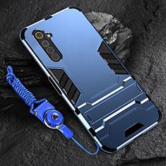 Coque Contour Silicone et Plastique Housse Etui Mat avec Support A01 pour Realme 6 Bleu