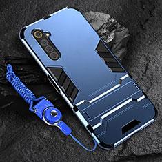 Coque Contour Silicone et Plastique Housse Etui Mat avec Support A01 pour Realme 6s Bleu