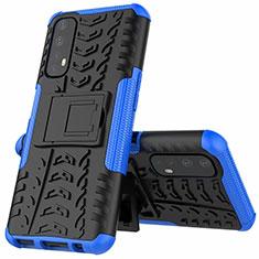 Coque Contour Silicone et Plastique Housse Etui Mat avec Support A01 pour Realme 7 Bleu
