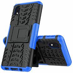 Coque Contour Silicone et Plastique Housse Etui Mat avec Support A01 pour Samsung Galaxy A01 Core Bleu