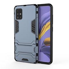 Coque Contour Silicone et Plastique Housse Etui Mat avec Support A01 pour Samsung Galaxy A51 4G Bleu