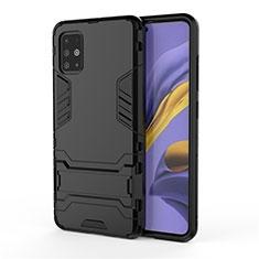 Coque Contour Silicone et Plastique Housse Etui Mat avec Support A01 pour Samsung Galaxy A51 4G Noir
