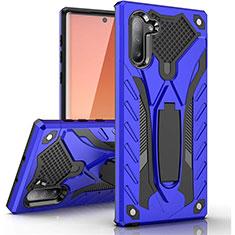 Coque Contour Silicone et Plastique Housse Etui Mat avec Support A01 pour Samsung Galaxy Note 10 Bleu
