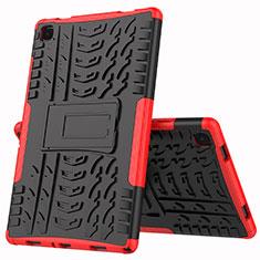 Coque Contour Silicone et Plastique Housse Etui Mat avec Support A01 pour Samsung Galaxy Tab A7 Wi-Fi 10.4 SM-T500 Rouge