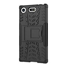 Coque Contour Silicone et Plastique Housse Etui Mat avec Support A01 pour Sony Xperia XZ1 Compact Noir