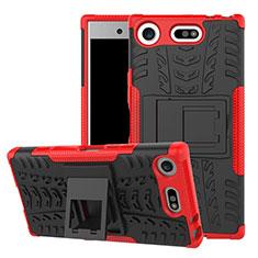 Coque Contour Silicone et Plastique Housse Etui Mat avec Support A01 pour Sony Xperia XZ1 Compact Rouge