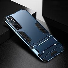 Coque Contour Silicone et Plastique Housse Etui Mat avec Support A01 pour Xiaomi Mi 10 Ultra Bleu