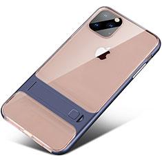 Coque Contour Silicone et Plastique Housse Etui Mat avec Support A02 pour Apple iPhone 11 Pro Max Bleu