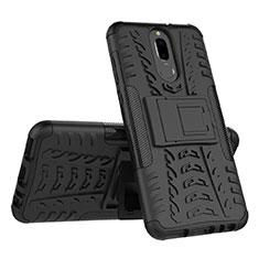 Coque Contour Silicone et Plastique Housse Etui Mat avec Support A02 pour Huawei Mate 10 Lite Noir