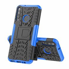 Coque Contour Silicone et Plastique Housse Etui Mat avec Support A02 pour Huawei P40 Lite E Bleu
