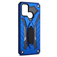 Coque Contour Silicone et Plastique Housse Etui Mat avec Support A02 pour Realme 7i Bleu