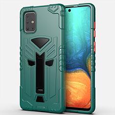 Coque Contour Silicone et Plastique Housse Etui Mat avec Support A02 pour Samsung Galaxy A71 5G Vert
