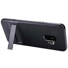 Coque Contour Silicone et Plastique Housse Etui Mat avec Support A02 pour Samsung Galaxy S9 Noir