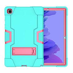 Coque Contour Silicone et Plastique Housse Etui Mat avec Support A02 pour Samsung Galaxy Tab A7 4G 10.4 SM-T505 Cyan