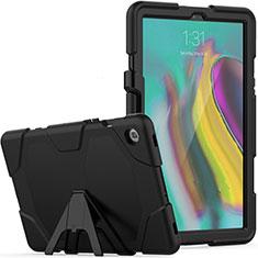 Coque Contour Silicone et Plastique Housse Etui Mat avec Support A02 pour Samsung Galaxy Tab S5e 4G 10.5 SM-T725 Noir