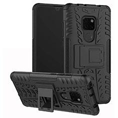 Coque Contour Silicone et Plastique Housse Etui Mat avec Support A03 pour Huawei Mate 20 Noir