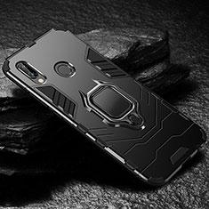 Coque Contour Silicone et Plastique Housse Etui Mat avec Support A03 pour Huawei P20 Lite Noir
