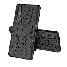 Coque Contour Silicone et Plastique Housse Etui Mat avec Support A03 pour Huawei P30 Noir
