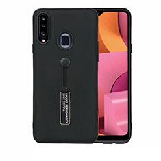 Coque Contour Silicone et Plastique Housse Etui Mat avec Support A03 pour Samsung Galaxy A20s Noir