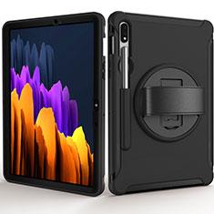 Coque Contour Silicone et Plastique Housse Etui Mat avec Support A03 pour Samsung Galaxy Tab S7 11 Wi-Fi SM-T870 Noir