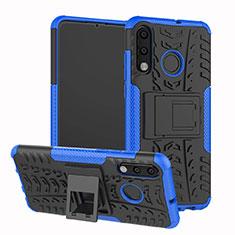 Coque Contour Silicone et Plastique Housse Etui Mat avec Support A04 pour Huawei P30 Lite Bleu