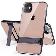 Coque Contour Silicone et Plastique Housse Etui Mat avec Support A06 pour Apple iPhone 11 Noir
