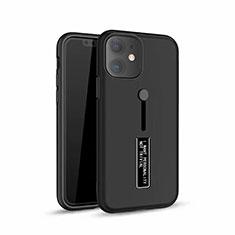 Coque Contour Silicone et Plastique Housse Etui Mat avec Support A07 pour Apple iPhone 11 Noir