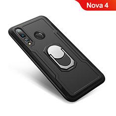 Coque Contour Silicone et Plastique Housse Etui Mat avec Support Bague Anneau A01 pour Huawei Nova 4 Noir