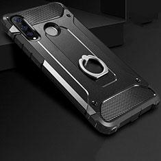 Coque Contour Silicone et Plastique Housse Etui Mat avec Support Bague Anneau H01 pour Huawei P30 Lite Noir