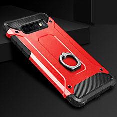 Coque Contour Silicone et Plastique Housse Etui Mat avec Support Bague Anneau H01 pour Samsung Galaxy S10 Rouge