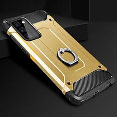 Coque Contour Silicone et Plastique Housse Etui Mat avec Support Bague Anneau N01 pour Samsung Galaxy Note 20 5G Or