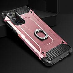 Coque Contour Silicone et Plastique Housse Etui Mat avec Support Bague Anneau N01 pour Samsung Galaxy Note 20 Ultra 5G Or Rose