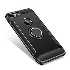 Coque Contour Silicone et Plastique Housse Etui Mat avec Support Bague Anneau pour Apple iPhone 7 Plus Noir