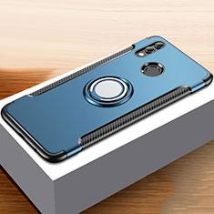 Coque Contour Silicone et Plastique Housse Etui Mat avec Support Bague Anneau pour Huawei Honor 10 Lite Bleu