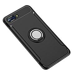Coque Contour Silicone et Plastique Housse Etui Mat avec Support Bague Anneau pour Huawei Honor 10 Noir