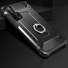 Coque Contour Silicone et Plastique Housse Etui Mat avec Support Bague Anneau pour Huawei Honor 20 Pro Noir