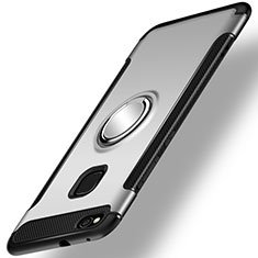 Coque Contour Silicone et Plastique Housse Etui Mat avec Support Bague Anneau pour Huawei Honor 8 Lite Argent