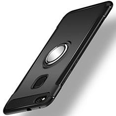 Coque Contour Silicone et Plastique Housse Etui Mat avec Support Bague Anneau pour Huawei Honor 8 Lite Noir