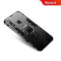 Coque Contour Silicone et Plastique Housse Etui Mat avec Support Bague Anneau pour Huawei Nova 4 Noir