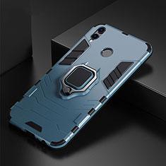 Coque Contour Silicone et Plastique Housse Etui Mat avec Support Bague Anneau pour Huawei P Smart (2019) Bleu