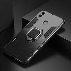 Coque Contour Silicone et Plastique Housse Etui Mat avec Support Bague Anneau pour Huawei P Smart (2019) Noir