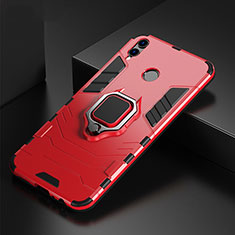 Coque Contour Silicone et Plastique Housse Etui Mat avec Support Bague Anneau pour Huawei P Smart (2019) Rouge