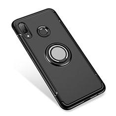 Coque Contour Silicone et Plastique Housse Etui Mat avec Support Bague Anneau pour Huawei P Smart+ Plus Noir