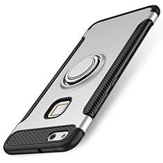 Coque Contour Silicone et Plastique Housse Etui Mat avec Support Bague Anneau pour Huawei P10 Lite Argent