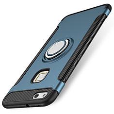 Coque Contour Silicone et Plastique Housse Etui Mat avec Support Bague Anneau pour Huawei P10 Lite Bleu
